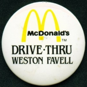 mcdonalds mcdonalds drive thru weston favell from the badge collectors circle archive. Black Bedroom Furniture Sets. Home Design Ideas