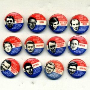 A&BC; Bubble Gum footballers series of 12 badges 1966-8